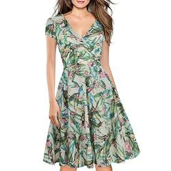 Women's Criss-Cross Necklines V-Neck Cap Sleeve Floral Casual Work Stretch Swing Summer Dress Party Dress Light Green(XXL) von Lincman