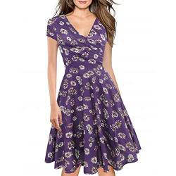 Women's Criss-Cross Necklines V-Neck Cap Sleeve Floral Casual Work Stretch Swing Summer Dress Party Dress Purple Floral(XL) von Lincman