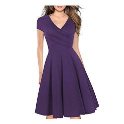 Women's Criss-Cross Necklines V-Neck Cap Sleeve Floral Casual Work Stretch Swing Summer Dress Party Dress Purple Soild(M) von Lincman