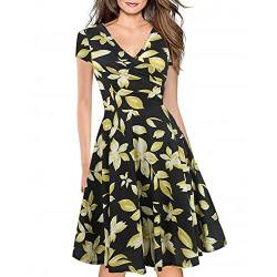 Women's Criss-Cross Necklines V-Neck Cap Sleeve Floral Casual Work Stretch Swing Summer Dress Party Dress Yellow(XL) von Lincman