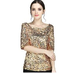 Linkay T Shirt Damen Langarm Bluse Tops Pailletten Oberteile Mode 2019 (Gold, Medium) von Linkay