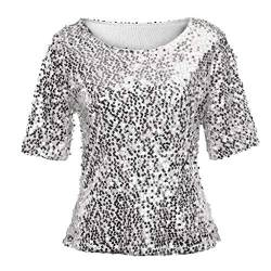 Linkay T Shirt Damen Langarm Bluse Tops Pailletten Oberteile Mode 2019 (Silber, Medium) von Linkay
