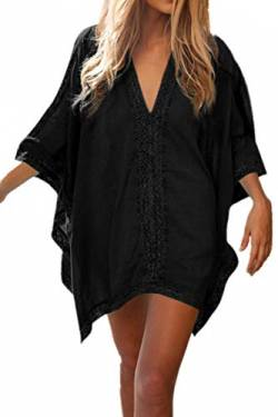 L-Peach Damen Strandponcho Sommer Überwurf Kaftan Strandkleid Bikini Cover-up One Size Schwarz von Little-Peach