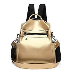 W Laptop Rucksack Frauen aus weichem Leder Kleiner Rucksack Designer Marke Multifunktions-Fest Schulranzen for Teenager Feminina Sac (Color : Gold, Size : XL) von LiuliuBull
