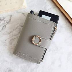 W Wallet Frauen Mappen Small Fashion Marken-Leder-Geldbeutel-Frauen-Dame-Karten-Beutel for Frauen-Kupplungs-Frauen weiblicher Geldbeutel Geldklammer Wallet (Color : Gray, Size : A) von LiuliuBull