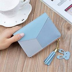 W Wallet Geometric Frauen nettes Rosa Mappen-Taschen-Geldbeutel-Kartenhalter-Patchwork Mappen-Dame Female Fashion Short Münze Burse Geldsack (Color : Blue, Size : A) von LiuliuBull