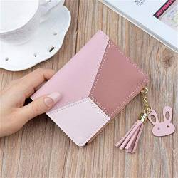 W Wallet Geometric Frauen nettes Rosa Mappen-Taschen-Geldbeutel-Kartenhalter-Patchwork Mappen-Dame Female Fashion Short Münze Burse Geldsack (Color : Pink, Size : A) von LiuliuBull