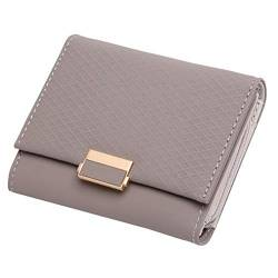 W Wallet Luxuxmappen Female Leder Frauen Leder Geldbörse Plaid Wallet Damen Hot ändern Kartenhalter Münze kleine Geldbeutel for Mädchen (Color : Grey, Size : A) von LiuliuBull