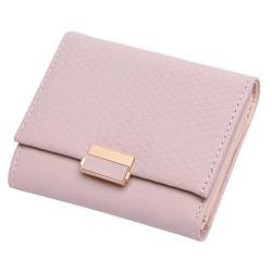 W Wallet Luxuxmappen Female Leder Frauen Leder Geldbörse Plaid Wallet Damen Hot ändern Kartenhalter Münze kleine Geldbeutel for Mädchen (Color : Pink, Size : A) von LiuliuBull