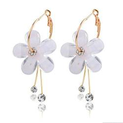 Geometrische weiße Acryl Ohrringe für Frauen Sweet Flower Statement Harz Shell Dangle Ohrringe Party Schmuck-Stil J. von Liuyang