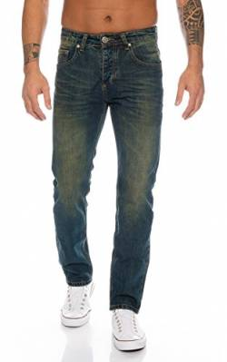Lorenzo Loren Herren Jeans Hose Denim Jeans Used-Look Regular-Fit [LL387 - DirtyWash - W44 L34] von Lorenzo Loren