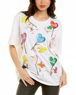 Love Moschino Damen Heart-Shaped Lollipop Prints T-Shirt, Weiß (Optical White A00), 32 (Herstellergröße: 38) von Love Moschino