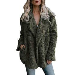 Damen Casual Jacke Winter Warm Parka Outwear Mantel Frauen Fuzzy Faux Pelz Langarm Strickjacke Wintermantel Einfarbig Trenchcoat Umlegekragen Winterjacke Dicker Pelzkragen Jacken(Armeegrün,L) von LoveLeiter