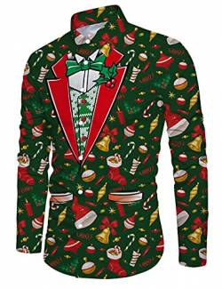 Loveternal Green Christmas Dress Shirt Funky 3D Printed Long Sleeve Xmas Santa T-Shirt Mens Button Down Slim Fit Blouse L von Loveternal