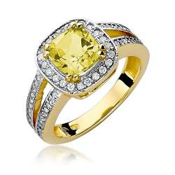 Damen Ring 585 14k Gold Gelbgold echt Citrin Edelstein Diamanten Brillanten von Lumari Gold