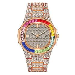 Bunte Iced Out Uhr Herren Damen Simualted Diamond Blinged Crystal Armbanduhr 40mm längliches Zifferblatt Hip Pop Casual Uhren für den Menschen von Lumemery