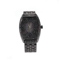 Damenuhr Iced-Out Barrel Shaped Wrist Watch Simulierte Diamond Metal Band Quarzuhr von Lumemery