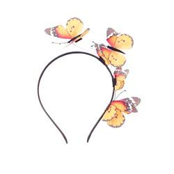 Lurrose Schmetterling Stirnband Vivid 3D Schmetterling Fascinator Stirnband Vintage Teeparty Stirnband für Frauen (Orange) von Lurrose