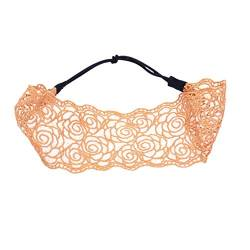 Lurrose Lace Headband Rose Hair Band Lace Design Head Band Wide Rim Headwear Daily Headdress for Women Yellow von Lurrose