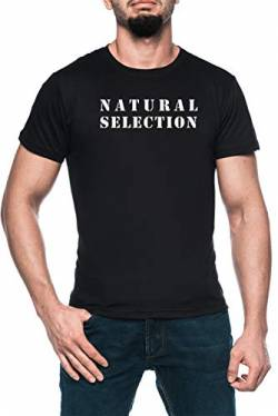 Natural Selection Herren Schwarz T-Shirt Kurzarm Men's Black T-Shirt von Luxogo