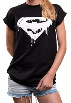 Comic Shirt für Damen - Hipster Damenshirt mit Superhelden Print locker lässig Superman Batman Joker M von MAKAYA