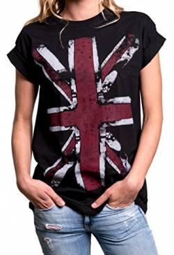 271c49c8fc4c England T-Shirt Union Jack Flagge Vintage - Longshirt Damen Oberteile große  Größen schwarz L