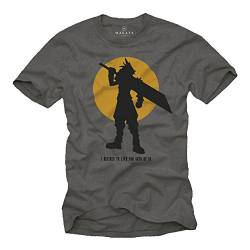 Gamer Nerd Geschenke - Fantasy T-Shirt - I Decided to live for Both of us - final grau S von MAKAYA