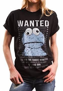 224b9821ff35 Lustiges Damen Oversize Shirt mit Aufdruck - Wanted - locker und lässig  geschnitten Cookie Monster schwarz