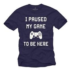 MAKAYA Gaming T-Shirt Herren - I My Paused Game to be here - Gamer Geschenke Blau Größe XXL von MAKAYA
