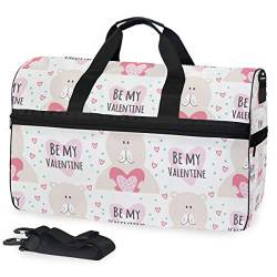 MALPLENA Be My Valentine Bear Packable Duffle Bag for Men Women Tear Resistant Sports Duffle von MALPLENA