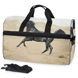 MALPLENA Black Horse On Desert Packable Duffle Bag for Men Women Tear Resistant Sports Duffle von MALPLENA