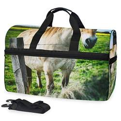 MALPLENA Horse Inside Fence Packable Duffle Bag for Men Women Tear Resistant Sports Duffle von MALPLENA