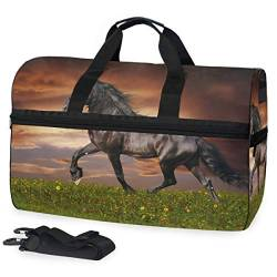 MALPLENA Horse On The Prairie Travel Duffel Bag, Weekender Bag with Shoes Compartment for Men Women von MALPLENA