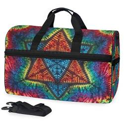 MALPLENA Mandala Tie Dye Travel Duffel Bag, Weekender Bag with Shoes Compartment for Men Women von MALPLENA