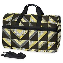 MALPLENA Ripple Modern Folkloric Travel Duffel Bag, Weekender Bag with Shoes Compartment for Men Women von MALPLENA