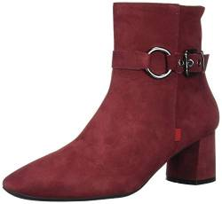 MARC JOSEPH NEW YORK Damen Leather Block Heel with Buckle Detail Madison Bootie Stiefelette, Nubuk Rouge, 38 EU von MARC JOSEPH NEW YORK