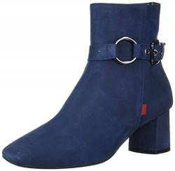 MARC JOSEPH NEW YORK Damen Leather Block Heel with Buckle Detail Madison Bootie Stiefelette, Nubukleder Eisblau, 35.5 EU von MARC JOSEPH NEW YORK