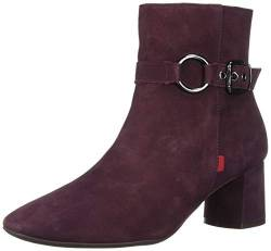 MARC JOSEPH NEW YORK Damen Leather Block Heel with Buckle Detail Madison Bootie Stiefelette, Weinnubuk, 38.5 EU von MARC JOSEPH NEW YORK