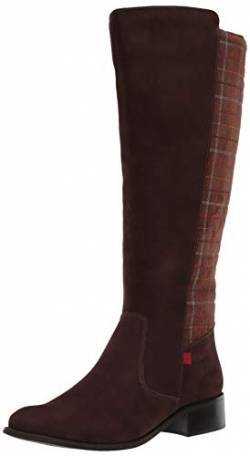 MARC JOSEPH NEW YORK Damen Leather Luxury High Top Riding Boot with Plaid Detail Kniehoher Stiefel, Braun/Nubukleder, 36 EU von MARC JOSEPH NEW YORK