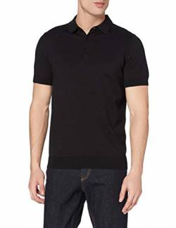 MERAKI Short-Sleeve Knit Polo Pullover, Schwarz (Black), Medium von MERAKI