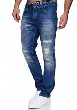 MERISH Jeans Herren Destroyed Hose Jeanshose Männer Slim Fit Stretch Denim 2081-1001 (31-32, 1507 Denim) von MERISH