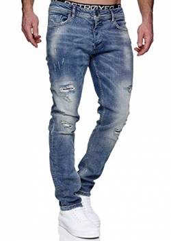 MERISH Jeans Herren Slim Fit Jeanshose Stretch Denim Designer Hose 1507 (34-32, 1506-1 Hellblau) von MERISH