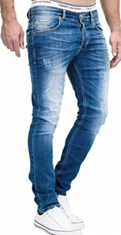 MERISH Jeans Herren Slim Fit Jeanshose Stretch Designer Hose Denim 501 (33-32, 501-2 Mittelblau) von MERISH