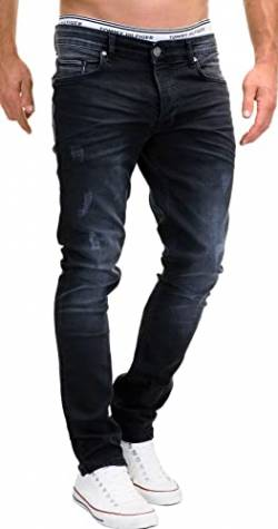 MERISH Jeans Herren Slim Fit Stretch Hose Jeanshose Denim 9148 (30-30, 9148 Schwarz) von MERISH