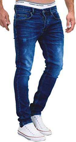 MERISH Jeans Herren Slim Fit Stretch Hose Jeanshose Denim 9148 (36-30, 9148 Dunkelblau) von MERISH