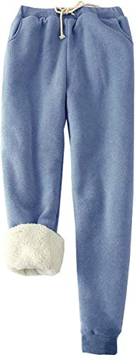 MINASAN Damen Sporthosen Lang Jogginghose Warme Fleece Hose Winter Verdickte Fleece Gefütterte Jogger Hose Traininghose (Blau, M) von MINASAN