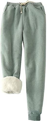 MINASAN Damen Sporthosen Lang Jogginghose Warme Fleece Hose Winter Verdickte Fleece Gefütterte Jogger Hose Traininghose (Grün, M) von MINASAN
