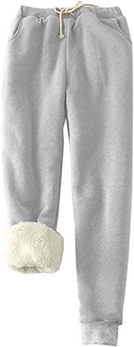 MINASAN Damen Sporthosen Lang Jogginghose Warme Fleece Hose Winter Verdickte Fleece Gefütterte Jogger Hose Traininghose (Hellgrau, XXL) von MINASAN