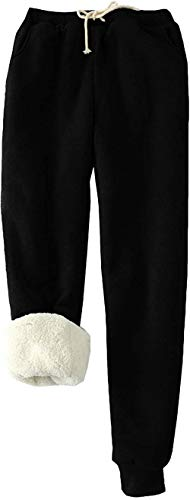 MINASAN Damen Sporthosen Lang Jogginghose Warme Fleece Hose Winter Verdickte Fleece Gefütterte Jogger Hose Traininghose (Schwarz, L) von MINASAN