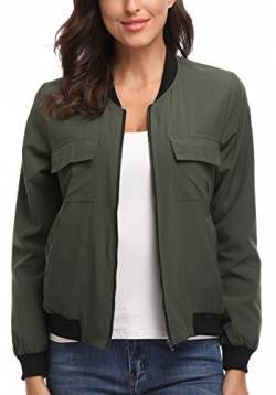 MISS MOLY Bomber Jacket Womens Flight Jacket Zip Up Lightweight Jacket Multi-Pocket Green Large von MISS MOLY
